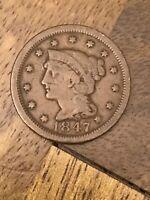 1847 Braided Hair Large Cent, 1c