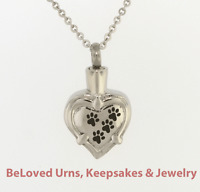 Paw Prints Across Heart Cremation Jewelry Pendant Urn Chain- Dog, Cat, Pet