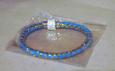 New Blue/Gold leather wrap Bangle/Bracelet magnetic clasp.+gift bag