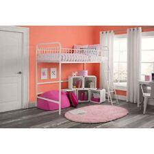 Twin Size Metal Frame Kids Children Loft Bunk Bed w/ Guardrails and Ladder-White