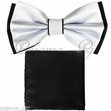 Wedding Black White Pre-tied Bow tie and Black Pocket Square Hankie Two Layers