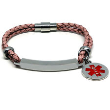 Pink unisex LIFE SAVING MEDICAL ALERT SOS ID Leather Bracelet ANY MESSAGE