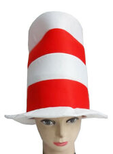 Kids Boys Girls Cat's Crazy Hat Red & White CHRISTMAS School Fancy Dress Party