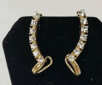 "Diamond Style Gold Tone Earrings 1.25"" Costume Jewelry J123"