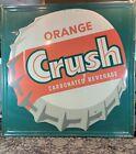Vintage Original Orange Crush Embossed Tin Litho Sign