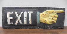 Vintage-Look Tin Metal EXIT This Way 3-D Sign with Pointing Finger Direct Arrrow