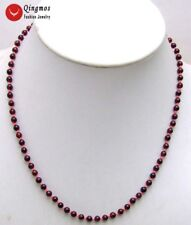 "Round 5-6mm Natural Brown Garnet Gemstone Necklace for Women Chokers 18"" nec5786"