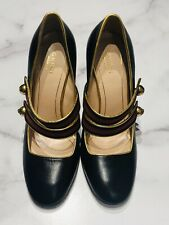 GUCCI GG Black Leather Bee Button Strap Mary Jane Heels Shoes