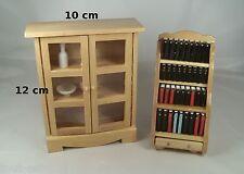 meubles en bois miniature,maison de poupée,vitrine, armoire,bibliothèque  ** B8