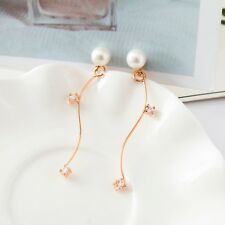 New Women Fashion 18K Rose Gold Plated Pearl S-Shape Earring Clips Zircon Inlaid