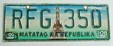"PHILIPPINES MATATAG NA REPUBLIKA LICENSE PLATE "" RFG 350 "" MANILA RIZAL MONUMENT"