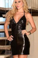 Mini Abito nero schiena aperta pailette Womens Mini open dress clubwear sequin
