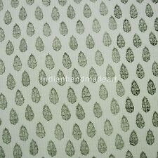 White Green Kantha Quilt Cotton Filled Jaipuri Hand Stitched Queen Size