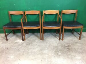 Set Of 4 Retro Teak Dining Chairs. Carvers. Courier Available