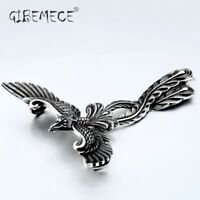 3D Phoenix Pendant Necklace Stainless steel Bird Charm Choker Animal Jewelry