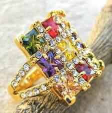 Elegant Amethyst Peridot Garnet Citrine 18K Gold Plated Wedding Ring Size 5.5
