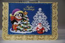 Ausgefallene 3D Karte,Handarbeit, Weihnachtskarte, Pinguin, Weihnachtsmann