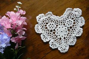 CROCHET HEART  DOILIES - Cotton WHITE -  14.5cm across x 13cm long EACH