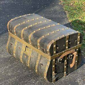 Jenny Lind Antique Trunk - Tooled leather  6 Brass Bands - Local Only For Now