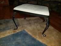 Vintage  Foot Stool w wrought Iron Frame & Legs wood bottom