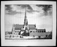 1724 Kip Large Antique Print of the Holy Trinity Cathedral, Chichester, England