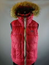 Womens Superdry Hoody Gilet / body warmer pink UK Small removable Faux fur trim