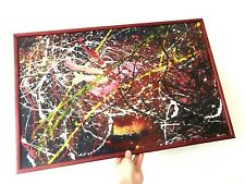Vintage Abstract Painting in the Style of Jackson Pollock