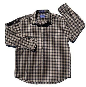 Vintage Sir Pendleton 100% Pure Virgin Wool Plaid Button Down Shirt XL USA Brown