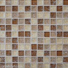 10-Sf Brown crackle glass mosaic tile kitchen backsplash wall bathroom shower