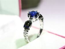 Silver Diamond blue Skull Engagement Band Ring Wedding Size 6