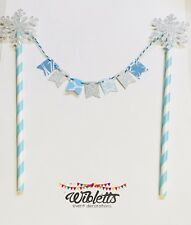 PAPER MINI BUNTING BIRTHDAY CAKE TOPPER BLUE SILVER GLITTER SNOWFLAKE FROZEN INS