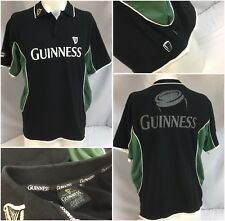 Guinness Jersey Polo Shirt M Black Green Cotton Poly Lycra Mint YGI 8336