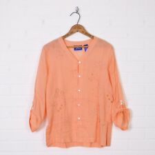 JH Collectibles Boho Peach Floral Beaded Embroidered Tunic Shirt Blouse Top S