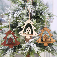 Christmas Tree Hanging Crafts Wooden Ornaments Decor Home Party Decoration Gifts