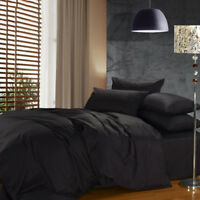 Queen Size 4Pcs Hotel Bedding Set Of Bed Sheet Duvet Cover And Pillowcase,Black