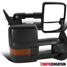 For 2007-2014 Sierra Silverado Black Power Heated Tow Mirrors+Amber LED Signal