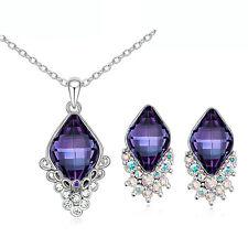 Luxury Dark Purple Crystal Rhombus Jewellery Set Stud Earrings & Necklace S633