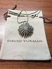 "David Yurman Sterling Silver Starburst Diamond .85ct 16"" chain Necklace LARGE"