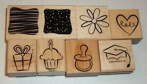 Stampin Up Retired Wood Mounted LITTLE LAYERS, PLUS Baby Graduation Cupcake Gift
