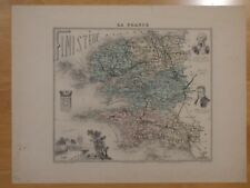 c.1870 color map of Finistere France: Brittany Brest cartouches Barbier Weltner