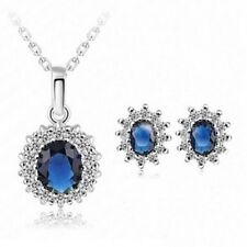 Ladies Oval Blue Sapphire Pendant Chain Necklace Earrings Jewelry Set Chic Gift