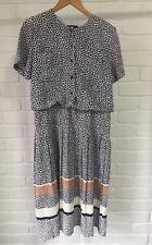 Vintage 'Dress Company Melbourne' Dress Blue & White Spot & Stripe Size 12