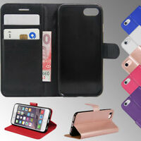 For Apple iPhone Premium Leather Flip Wallet Cover Book Case + Tempered Glass