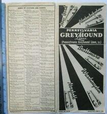 1933 Pennsylvania Greyhound Lines Bus Timetable Schedules New York Philadelphia