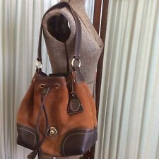 Dooney Bourke Dark Brown Leather Rust Nubuck Drawstring Shoulder Bag