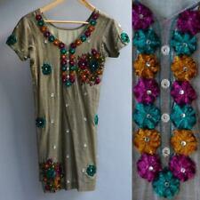 VTG India Tribal Hippie Festival Dress Silk Tunic 3D Velvet Applique Beaded XS