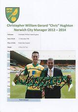 Chris Deportivas Norwich City Manager 2012-2014 Original fotografía firmada a mano