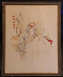 """Sexy 1920s Vtg Beautiful Glamor Shot Girl Hand Color Litho Painting Signed """"MK"""""""