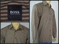 Hugo Boss Bronze Striped Btn Front L/S Dress Shirt Mens Medium Work Office Wear