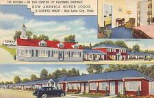 New America Motor Lodge Salt Lake City, Utah Lincoln Highway Roadside Postcard